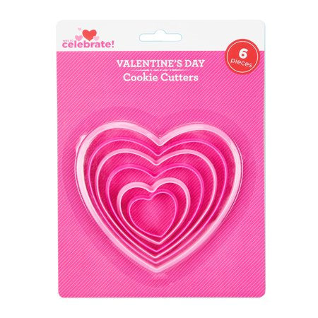 Way To Celebrate Valentine's Day Cookie Cutters, Hearts, 6 Count