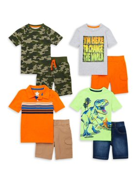 365 Kids from Garanimals Boys 4-10 Camo Kid-Pack with T-Shirts, Cargo Shorts, and Jean Shorts, 8-Piece Outfit Set