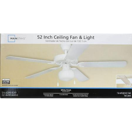 Mainstays 52 Quot Dual Mount One Light Ceiling Fan White Walmart Com Walmart Com