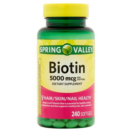 Spring Valley Biotin Gélules, 5000 mcg, 240 count