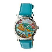 Chelsea Mop Leather-Band Ladies Watch - Silver/Turquoise
