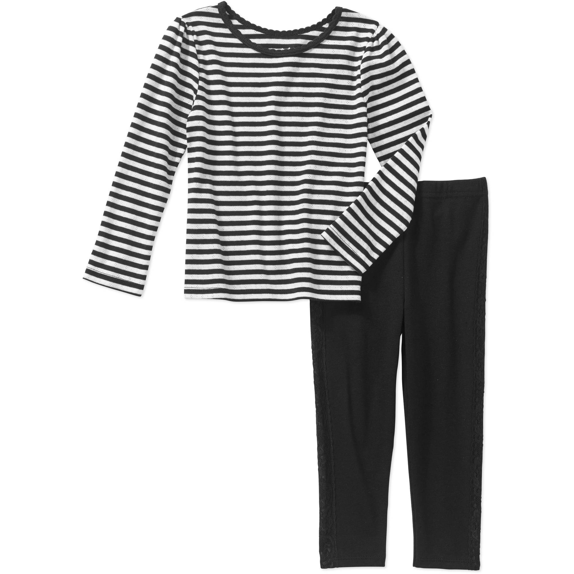 Garanimals Baby Toddler Girls' 2-Piece Long Sleeve Stripe Tee and Tuxedo Leggings Set