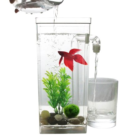 Self Cleaning Plastic Fish Tank Desktop Aquarium Betta Fishbowl for Office Home Decor Specification:square fish -