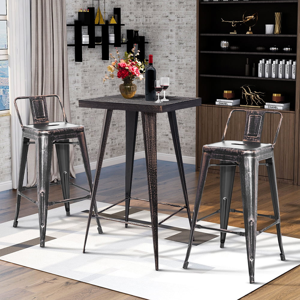 Veryke 3 piece Vintage Bar Stools with Metal Table, Low ...