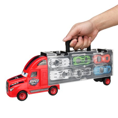 12pcs Alloy Metal Toy Cars with Portable Container Truck for Kid Gifts