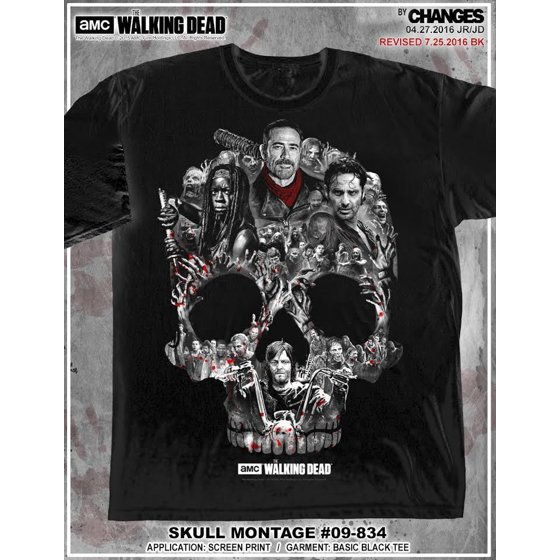 580747521 He is one of the deadliest men on earth. He is plain evil and has no  concern for the life of anyone. The Walking Dead Men's Skull Montage T-shirt  Negan