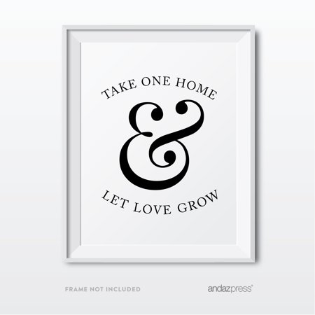 Black Wedding Favors - Let Love Grow Plant Seed Favors Formal Black & White Wedding Party Signs