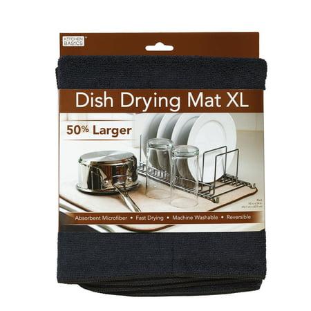 Kitchen Basics XL Reversible Microfiber Dish Drying Mat - Black - 18
