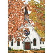 """Autumn Church House Flag Fall Religious Scene 28"""" x 40"""" Briarwood Lane"""