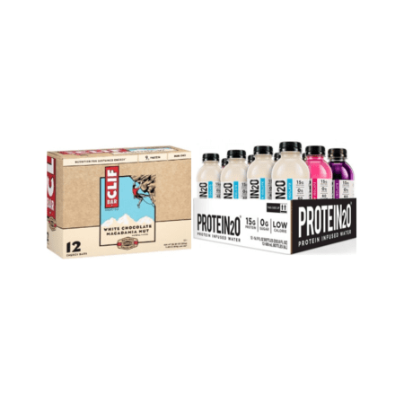 Energy On The Go Bundle - 12 Clif Bars & 12 Protein2o Waters (Choice of