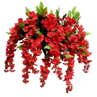 Admired by Nature Artificial Wisteria Hanging Flowers Bush, Red