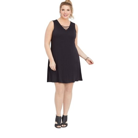 maurices - maurices Lattice Neck Swing Dress - Plus Size 24/7 ...