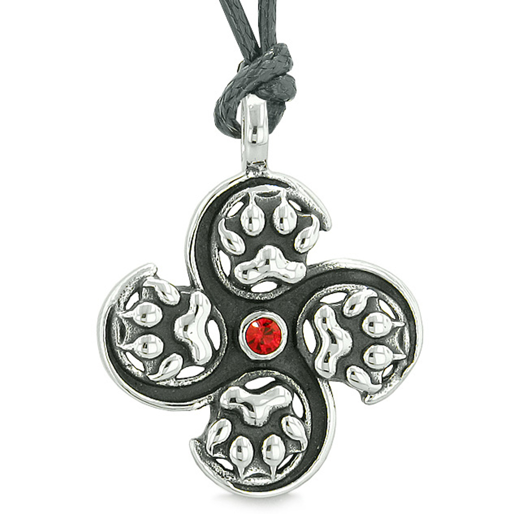 Supernatural Wild Wolf Paw All Forces of Nature Powers Amulet Red Crystal Pendant Adjustable Necklace