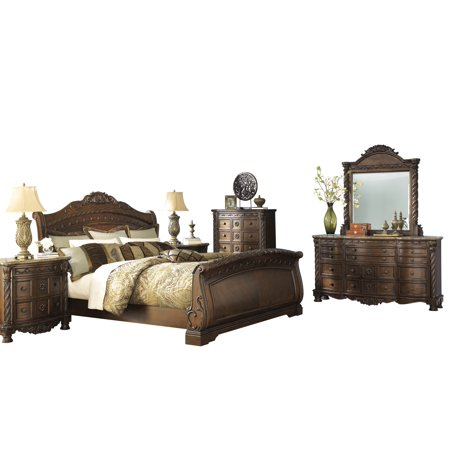 Ashley Furniture North Shore 6 PC Bedroom Set: Cal King Sleigh Bed Dresser Mirror 2 Nightstand Chest Dark