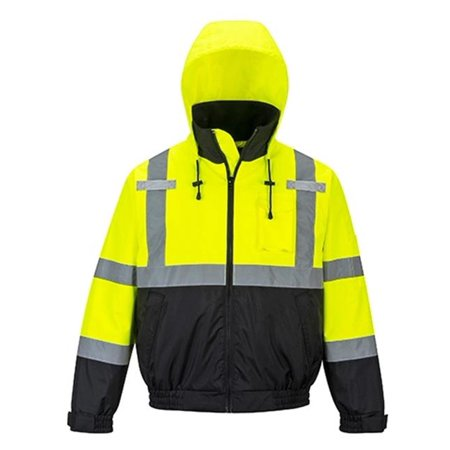 US364 Large Hi-Visibility Premium 2-in-1 Waterproof Bomber Jacket, Yellow & Black - - James Coat