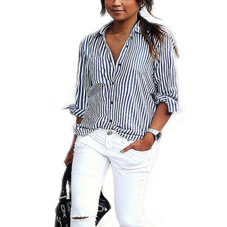 73af3065a30 Womens Plus Size Long Sleeve V Neck Striped Shirt Tops OL Work Casual T-Shirt  Blouse - Walmart.com