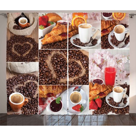 Kitchen Curtains 2 Panels Set, Collage of Different Photos Breakfast Theme Croissant Coffee Beans and Strawberries, Window Drapes for Living Room Bedroom, 108W X 108L Inches, Multicolor, by Ambesonne - Kitchen Themes