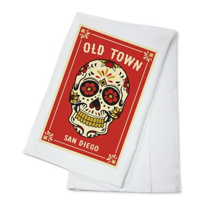 Carmen Sandiego Halloween (Old town San Diego - Day of the Dead - Sugar Skull and Flower Pattern (Red) - Lantern Press Artwork (100% Cotton Kitchen)