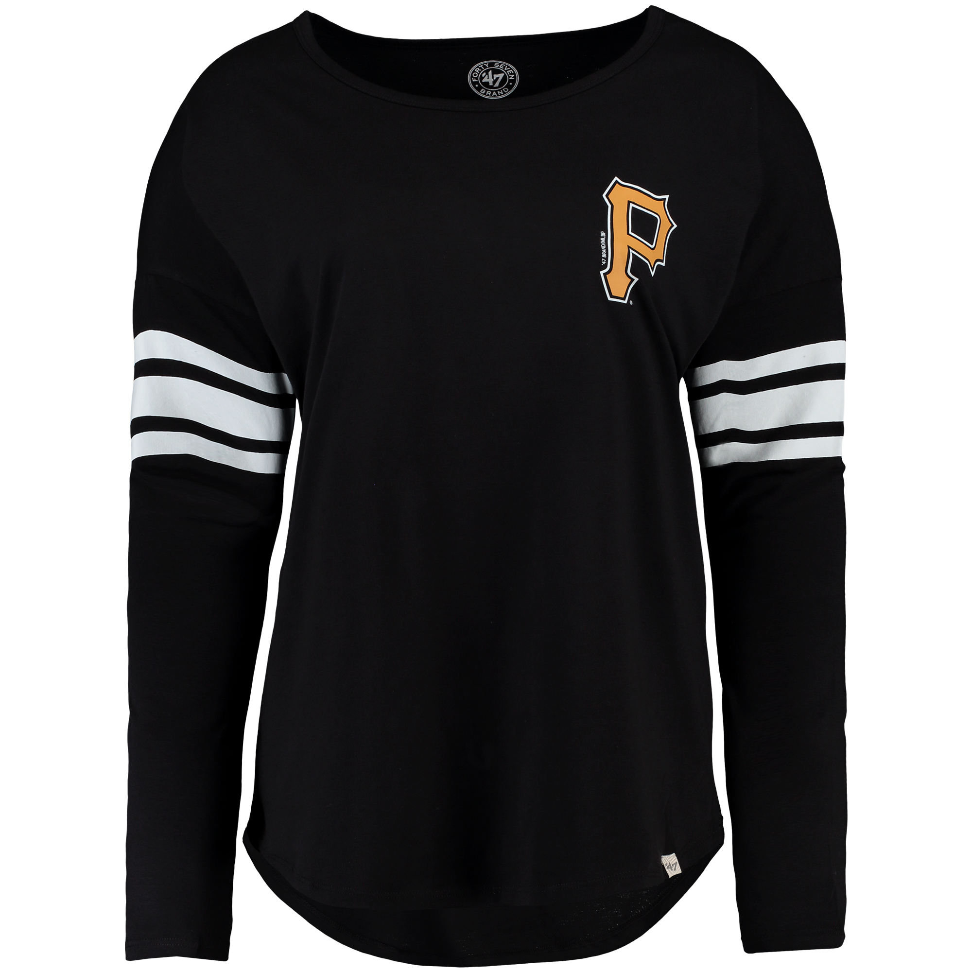 Pittsburgh Pirates '47 Women's Ultra Courtside Long Sleeve T-Shirt Black by TWINS ENTERPRISE INC/47 BRAND