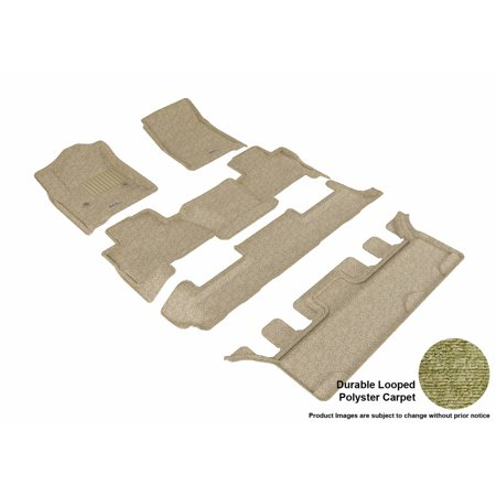 3D MAXpider 2015-2017 Chevrolet Tahoe Bucket Seating Front, Second, & Third Row Set All Weather Floor Liners in Tan Carpet ()