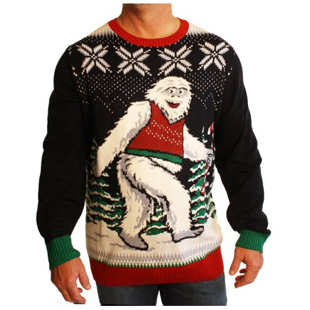 Ugly Christmas Sweater Men's Big And Tall Smiling Yeti Abominable Sweatshirt (Best Ugly Sweater Ever)