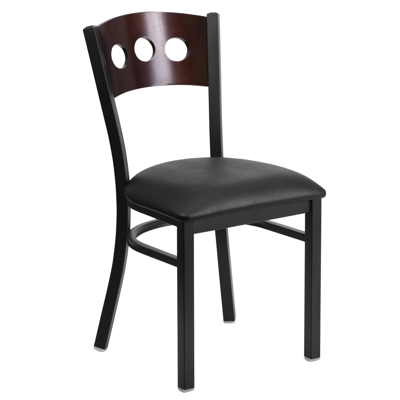 Lancaster Home Black Decorative 3 Circle Back Metal Restaurant Chair