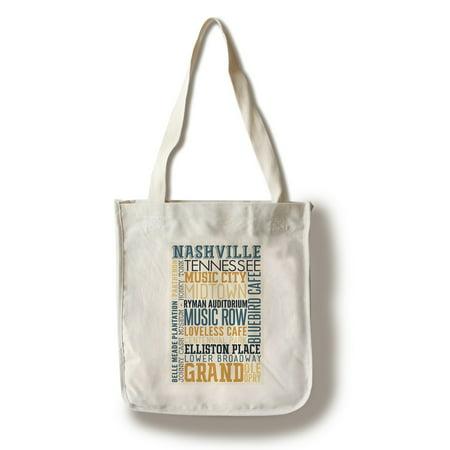 Nashville, Tennessee - Typography - Lantern Press Artwork (100% Cotton Tote Bag -