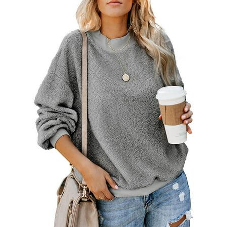 2019 New Fashion Women Winter Warm Long Sleeve Fleece Teddy Bear Jumper Pullover Tops Ladies Girls Baggy Casual Sweatshirt Pullover Loose Tunic Shirts (Best Women's Hoodies 2019)