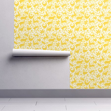 Removable Water-Activated Wallpaper Yellow Festive Otomi Deer Deer Cats Spring