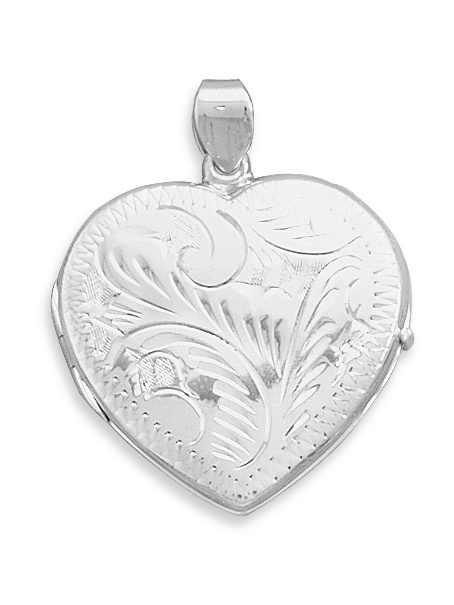 Sterling Silver Large Etched Heart Locket 36x30mm Locket Holds 2 Pictures by Jewelryweb