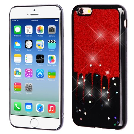 best sneakers 4565c a887c iPhone 6s Case, iPhone 6 Case, by Insten Glittering Silver Stars (Black)  Krystal Gel Series TPU Candy Skin Case For Apple iPhone 6 / 6s - Red | ...