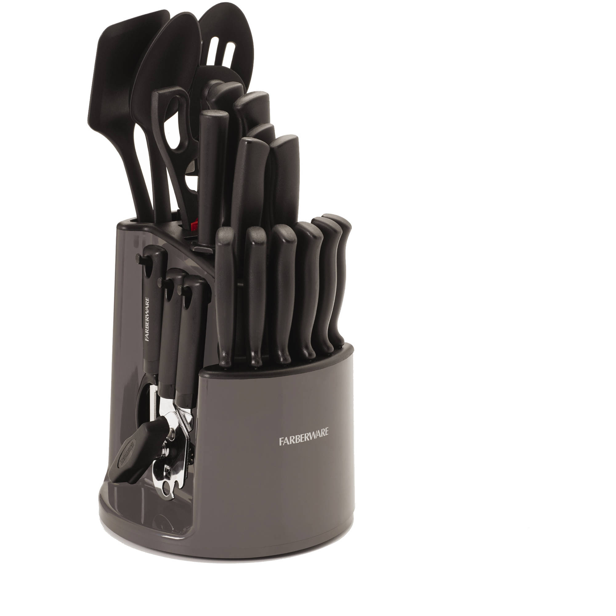 fascinating Spinning Utensil Caddy Part - 15: Farberware 30-Piece Spin N Store Knife and Kitchen Utensil Set - Walmart.com