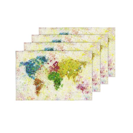YUSDECOR World Map Painting Placemats Table Mats for Dining Room Kitchen Table Decoration 12x18 inch,Set of 4 - image 2 of 4