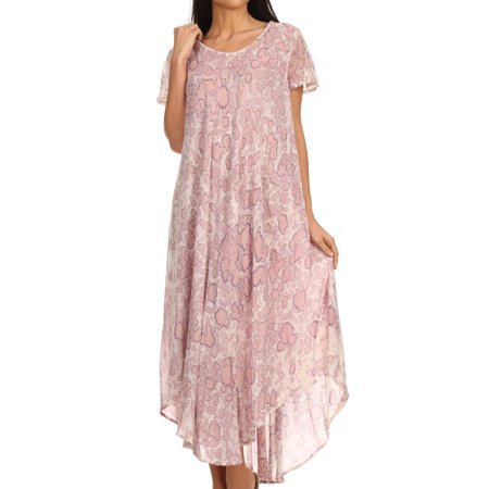 Long Sleeve Caftan - Sakkas Lila Freckled Dyed Cap Sleeve Scoopneck Long Caftan Dress / Cover Up - Mauve - One Size Regular
