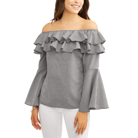 Women's Off the Shoulder Bell Sleeve Gingham Top for $<!---->