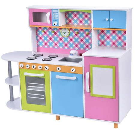 costway new wood kitchen cooking pretend play set