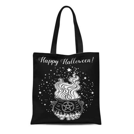 LADDKE Canvas Tote Bag Magic Witch Cauldron of Boiling Liquid Magical Boiler Potion Reusable Shoulder Grocery Shopping Bags Handbag (Cauldron Handbag)