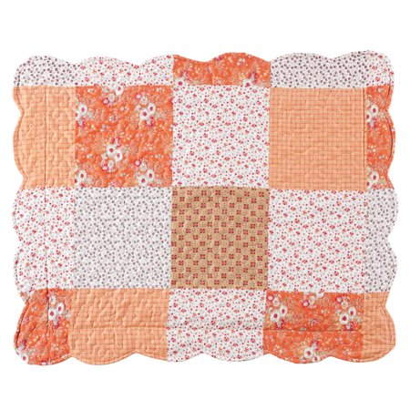 Floral Scallop - Amber Mini Floral Patchwork Quilt Bedding Coverlet with Scalloped Edges, Sham, Orange