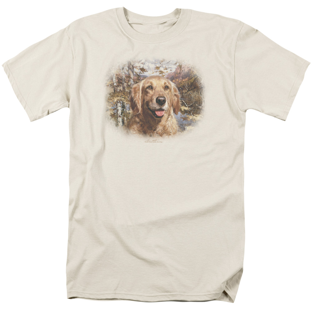Trevco WILDLIFE GOLDEN RETRIEVER HEAD Cream Adult Unisex T-Shirt