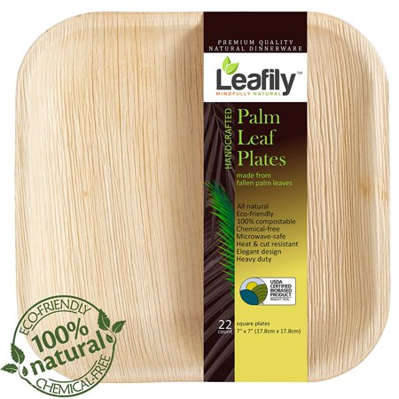 Palm Leaf Plates 7 Inch Square Heavy Duty Elegant 100 Compostable Better Than Bamboo Or Wood Disposable Biodegradable Premium Party