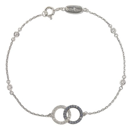 Suzy Levian Sterling Silver Sapphire & Diamond Accent Interlocked Circles Station