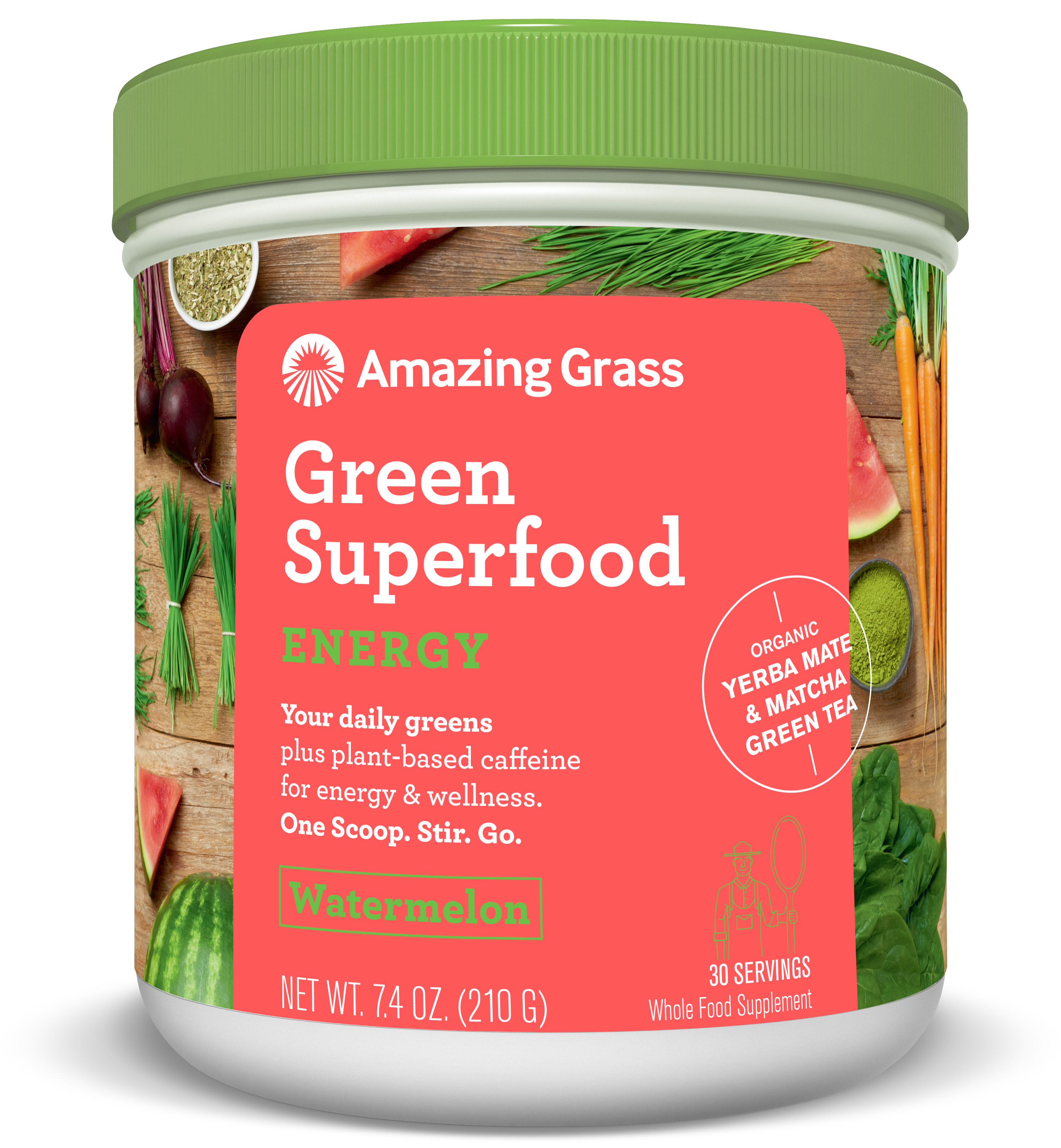 Amazing Grass Energy Green Superfood Powder, Watermelon, 30 Servings
