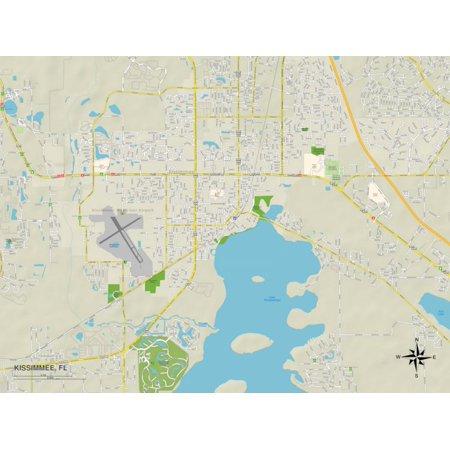 Political Map of Kissimmee, FL Print Wall Art