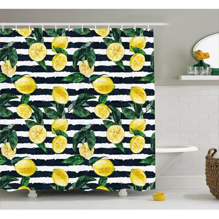 Hunters Bathroom Set (Modern Shower Curtain, Refreshing Lemons on Horizontal Striped Background Exotic Artwork, Fabric Bathroom Set with Hooks, Yellow Hunter Green Indigo, by)