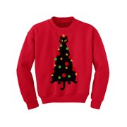 Awkward Styles Ugly Christmas Sweater for Boys Girls Kids Youth Cat Xmas Tree Sweatshirt