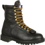 """georgia boot work mens 8"""" steel toe waterproof lace black gbot078"""