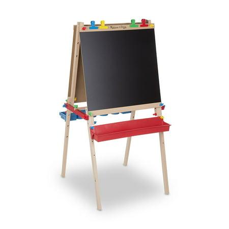 Melissa & Doug Deluxe Standing Art Easel - Dry-Erase Board. Chalkboard. Paper Roller