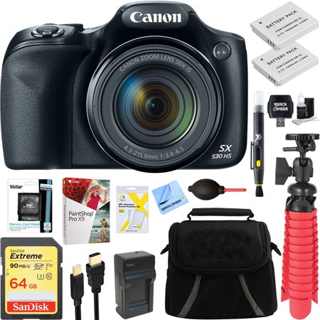 - Canon PowerShot SX530 HS 16.0 MP 50x Optical Zoom Digital Camera (Black) + Two-Pack NB-6L Spare Batteries + Accessory Bundle