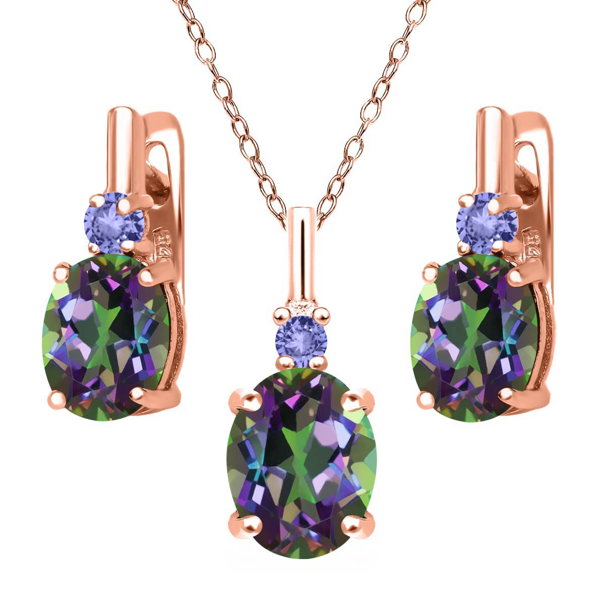 6.98 Ct Green Mystic Topaz Blue Tanzanite 18K Rose Gold Plated Silver Pendant Earrings Set by
