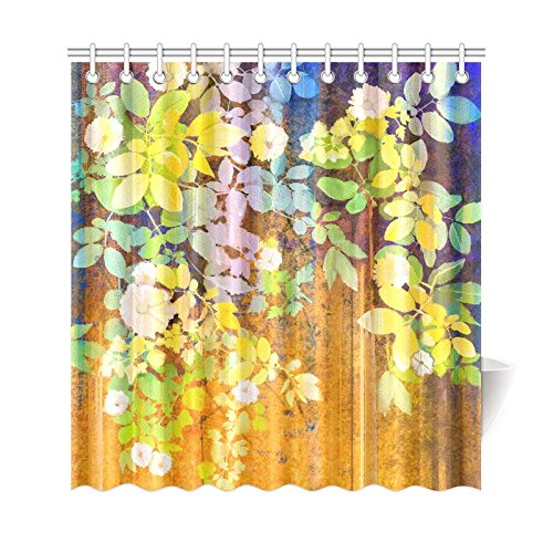 GCKG Spring Green Flower Shower Curtain Watercolor White Floral